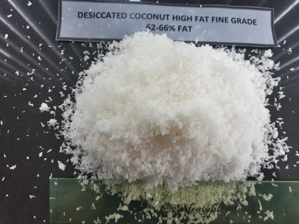 Vietnam Desiccated Coconut High Fat Fine Grade, fat content 63-68%.